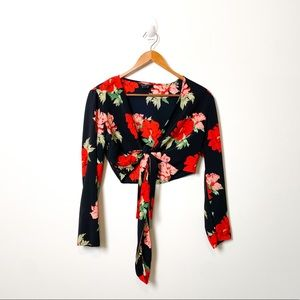 Topshop Floral Cropped Wrap Around Top Shirt